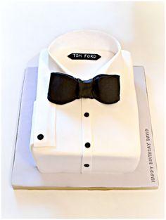 Tom Ford Tux Black Bow Tie Shirt Cake for Men Cherie Kelly London
