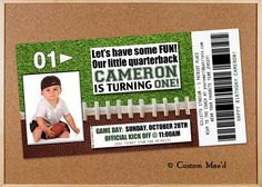 Football First Birthday Invitations, Rookie Invitations, Football Birthday, Sports Party - You're gonna score a touchdown with these one of a kind invitations from Custom Mae'd! Personalized for your little quarterback (or linebacker? Football First Birthday, Boys First Birthday Party Ideas, Baby First Birthday, Birthday Fun, Sports Birthday, Sports Party, Birthday Cake, Football Invitations, Printable Birthday Invitations