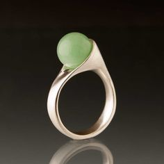 Beautiful shape! Wrapped Jade Sphere Sterling Silver Ring by Nodeform on Etsy