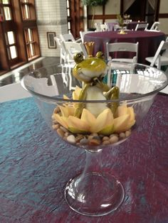 Frog on a Lily Pad centerpiece .Once Upon a Time Theme- Bayside High School Junior Ring Dance. Design by Pure Dymonds Events.  Www.puredymondsevents.com