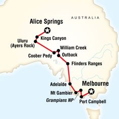 Map of the route for Melbourne to the Red Centre (G Adventures)