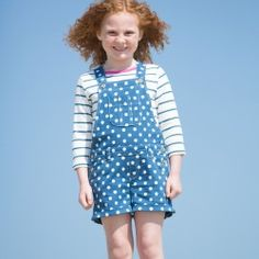 These perfect little twill dungaree shorts are the business for active yet fashion savvy little girls. With front and back pockets and contrast stripy cotton lining. Adjustable straps with natural coconut buttons. Made from organic cotton b Nautical T Shirts, Dungarees Shorts, Kite, Overall Shorts, Summer Collection, Organic Cotton, Girl Outfits, Navy, Sleeves