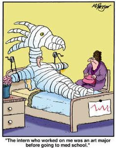 A radiology technician working in a hospital emergency room took some X-rays of a trauma patient and brought the results to the doctor. Find out more about JCU Medical School Medical School Interview, Medical Student, Medical Jokes, Medical Art, Hospital Cartoon, Hospital Humor, Dental Humor, Nurse Humor, Teacher Humor