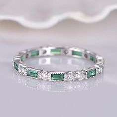 Emerald Diamond Wedding Band White Gold Milgrain Full Eternity Ring Brithstone Engagement Ring Stacking Matching Band Marquise set by PENNIjewel on Etsy Full Eternity Ring, Eternity Ring Diamond, Diamond Bands, Diamond Wedding Bands, White Gold Wedding Bands, Wedding Rings, Ruby Wedding, Emerald Diamond, Emerald Band Ring