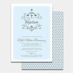 "baby baptism christening invitation for boy  printable invitation ""flourish"""