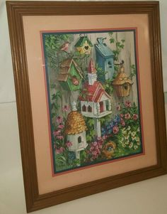Home Interiors Homco Bird House Flowers Picture By Barbara Mock Matted print of Barbara Mock of bird houses. Framed in wood and glass. The picture measures about by inches. Home Interiors And Gifts, Retro Home, Classic House, Flower Pictures, Bird Houses, Painting & Drawing, Framed Prints, Wood, Flowers