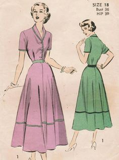 Vintage 1949 Advance 5163 Sewing Pattern Misses' Dress Size 18 Bust 36. $14.00, via Etsy.