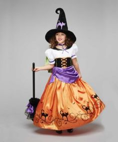 Buy the set, save a bundle!4-pc. costume set includes:dresscapelethatbroomAccessories sold separately: chokerpetticoatpointy witch shoes