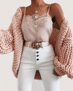 Bubble knit cardigan outfit idea for fall! Casual outfit with a cardigan, lace c. - Bubble knit cardigan outfit idea for fall! Casual outfit with a cardigan, lace cami, and white high - Winter Fashion Outfits, Cute Fashion, Look Fashion, Spring Outfits, Womens Fashion, Fashion Ideas, Dress Fashion, Cardigan Fashion, Fashion Trends