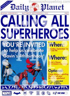 Superhero Newspaper Custom PRINTABLE Birthday by MMScrapShoppe, $10.00