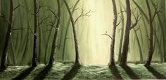 Misty forest 50x100 cm oil on canvas