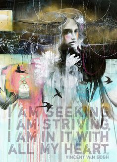 """I am Seeking, I am striving, I am in it with all my heart."" Quote by Vincent Van Gogh. ART by Anahata katkin: The Swallows for PAPAYA Art And Illustration, Illustrations, Kunstjournal Inspiration, Art Journal Inspiration, Mixed Media Collage, Collage Art, Pop Art, Papaya Art, Collages"