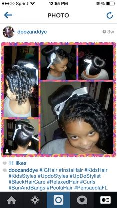 Black Hairstyles For Kids Curls Bun And Bang Relaxed Hair