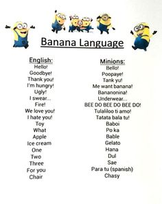 >>>Cheap Sale OFF! >>>Visit>> Minion Despicable me inspired idea for kids birthday Party decoration Banana Language PRINTABLE Inst Minion Humour, Funny Minion Memes, Funny School Jokes, Funny Jokes To Tell, Crazy Funny Memes, Funny Shit, Really Funny Memes, Funny Laugh, Funny Relatable Memes