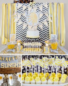 YOU ARE MY SUNSHINE baby shower. Love this if I ever need to party plan a gender neutral baby shower. Shower Party, Baby Shower Parties, Baby Shower Themes, Shower Ideas, Party Party, Party Favors, Fiesta Baby Shower, Baby Boy Shower, Baby Unisex