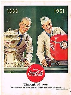 Coca-cola ad showing how the coke seller looked like when they began and 65 years later on their anniversary Coke Drink, Coca Cola Drink, Coca Cola Ad, Always Coca Cola, World Of Coca Cola, Coca Cola History, Coca Cola Vintage, Vintage Ads, Vintage Posters