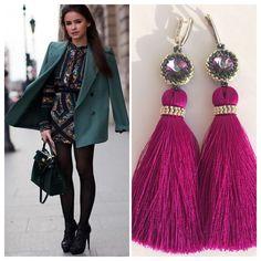 Bead Earrings, Tassel Earrings, Tassel Jewelry, Beaded Jewelry, Beading Projects, Silk Thread, Bag Accessories, Jewerly, Tassels