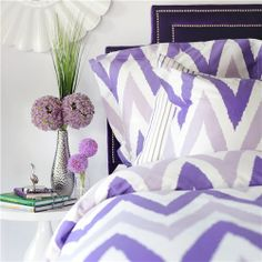Mia Bedding Set - Discover home design ideas, furniture, browse photos and plan projects at HG Design Ideas - connecting homeowners with the latest trends in home design & remodeling Peach Bedding, Chevron Bedding, Purple Bedding, Duvet Bedding Sets, Comforters, Purple Headboard, Ikat Bedding, Nailhead Headboard, Velvet Headboard