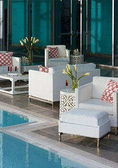 White furniture can create a cool, contemporary look for your outdoor space.