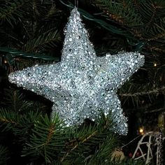 Silver Sparkly Beaded Starfish Christmas Ornament