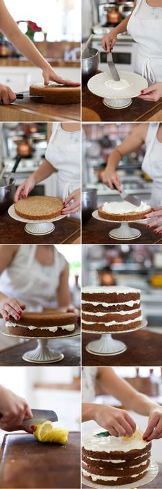 "How to assemble a ""naked"" cake & Black tea cake with lemon buttermilk frosting"