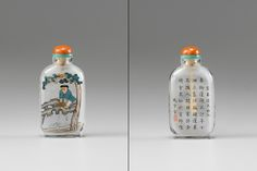 Chinese snuff Bottle : Glass, painted inside with Lui Hai on a rocky bank dangling coins on a string to attract his three-legged toad, the reverse with an inscription | Snuffbottle.com