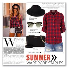 Plaid Shirt by carlavogel on Polyvore featuring polyvore, fashion, style, Henri Bendel, Forever 21, Ray-Ban, Melissa and plaidshirt