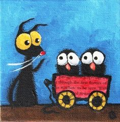 Give the birds a go on the little red wagon...