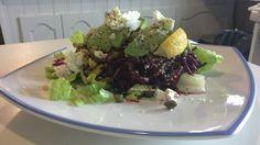 raw beet & avocado salad by Chef Marcel Raw Beets, Hemp Hearts, Goat Cheese Salad, Avocado Salad, Marcel, Tea, Antiques, Ethnic Recipes, Room