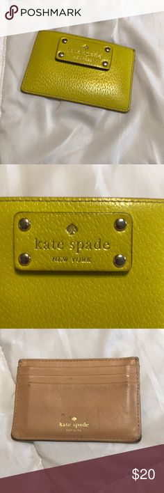 Kate Spade card holder Besides it being a little dirty it's in good condition has 4 card slots, greenish yellow in color kate spade Bags Wallets