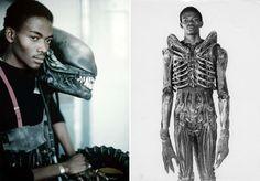 El actor Bolaji Badejo, escogido para el papel de Alien por medir dos metros de altura. Alien el octavo pasajero (1979)