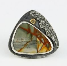 Red Creek Jasper Sterling Silver Pendant Breaking Waves Nature's Wearable Art By the Sea Miniature Art Natural Stone 14 kt Accent 750261215