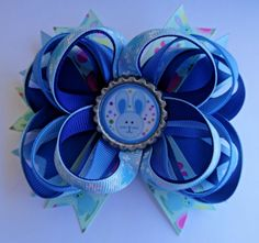 EASTER BUNNY SPRING STACKED TWISTED BOUTIQUE HAIR BOW CLIP RIBBON HANDMADE #Handmade