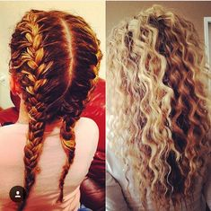 Two French braids, sprayed with water spray. And crimpy hair is the result.