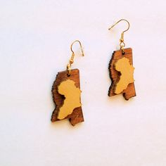 Africa Earrings Mississippi Earrings Soul of Dixie Earrings Gold and Wood Earrings Tribal Urban Wood Earrings, Etsy Earrings, African American Culture, African Earrings, Mississippi, Jewelry Art, Pop Art, I Shop, Urban