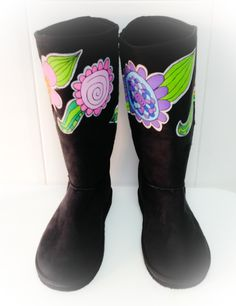 Hand painted UGG boots... I Just want to walk a funny path