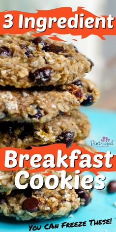 Three ingredient breakfast cookies are the answer for your busy mom mornings! Healthy, fun and super-quick, these cookies will be a family fave! Breakfast Cookies, Breakfast Bake, Breakfast For Kids, Breakfast Recipes, Breakfast Club, Quick Healthy Breakfast, Healthy Meals For Kids, Healthy Recipes, Three Ingredient Recipes
