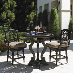 Kingstown Sedona 3 Piece Dining Pub Set with Cast High/Low Bistro Table and Swivel Counter Stools by Tommy Bahama Outdoor Living - Baer's Furniture - Outdoor Pub Dining Set Miami, Ft. Lauderdale, Orlando, Sarasota, Naples, Ft. Myers, Florida