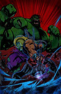 Brawl of the Century: Hulk v Thor by Balshumet