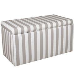 Skyline Furniture Grey/White Striped Storage Bench
