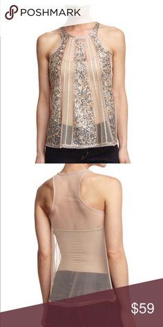 Romeo & Juliet couture Embellished Mesh Tank, Beige Topshop Tops Tank Tops