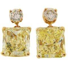 87a46621d3dc Fancy Yellow GIA and White Diamond Gold Two-Stone Stud Drop Earrings White  Gold Diamond