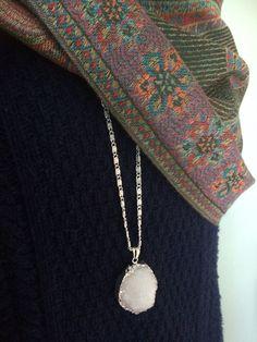 Gorgeous White Semi-Precious Drusy Agate Gemstone Necklace