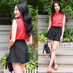 Rosa - Larmoni Polka Dots Sleeveless Shirt, Larmoni Pleats Flared Shorts - Polka Dots | LOOKBOOK
