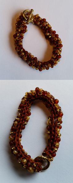 Crocheted Bead Bracelet Copper, brown, and white Czech Glass Beads handmade by Meander Canyon Crafts. Gold tone toggle clasp. Size small - 7 inches.