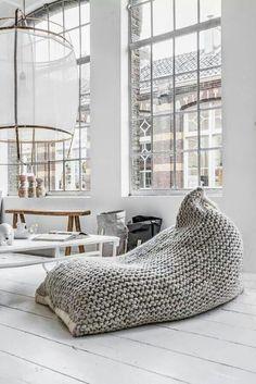 Giant knitted bean bag