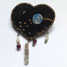 Earth Moon Stars Heart Shaped Pin Pearls Beads Crystal Hand Painted Signed TB96 #Handmade