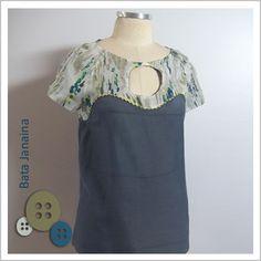 Blusa Janaina (Cinza e Estampa Manchas) - Café Costura de R$94 por R$70