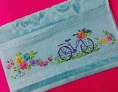 This Pin was discovered by Cec 123 Cross Stitch, Cross Stitch Borders, Cross Stitch Flowers, Cross Stitch Patterns, Crochet Patterns, Embroidery Needles, Cross Stitch Embroidery, Linen Towels, How To Make Pillows