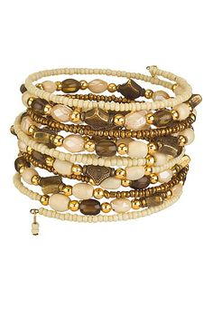 Neutral color seedbead coil bracelet (original price, $12) available at #Maurices